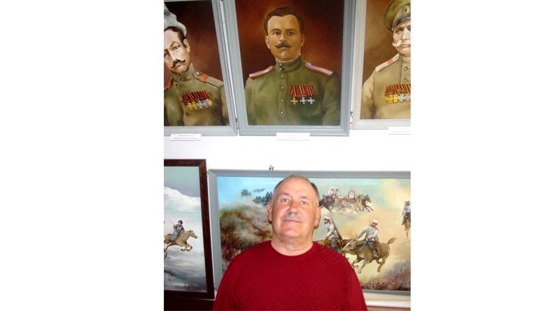 Надо мной портрет деда Петра Александровича Сухачёва работы Юрия Алексеевича Белозерцева. Барнаул