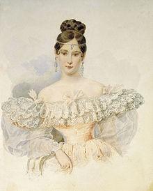 Портрет Н. Н. Пушкиной работы Александра Брюллова (1831–1832 гг.)