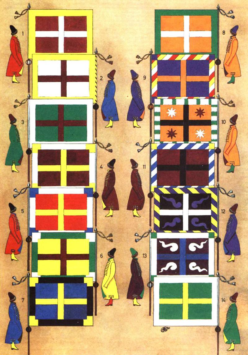 «Цветное платье» и сотенные знамёна московских стрелецких приказов. 1674 г. (по Э. Пальмквисту):