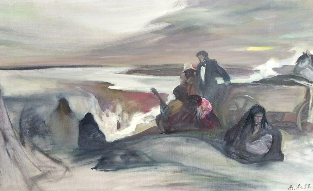 Адольф Алексеев. Пушкин в цыганском таборе. Х. м. 1998 г.